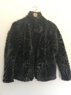 H&M Giacca di pelliccia nero-grigio scuro