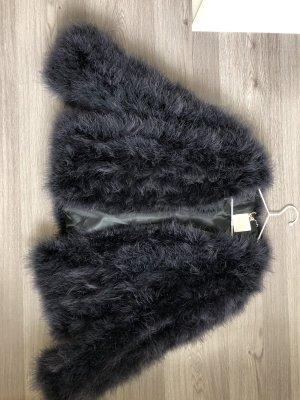 Giacca di pelliccia nero-grigio