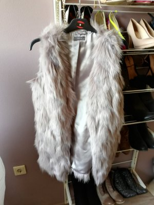 Veste en fausse fourrure gris clair-gris