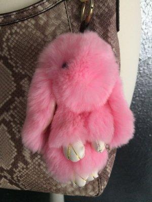 Fellkaninchen echtes Fell Hase Taschenanhänger Anhänger Schlüsselanhänger rosa