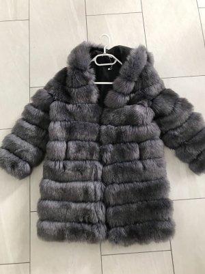 Giacca di pelliccia grigio-grigio scuro