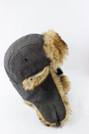 Zara Fur Hat black brown-cognac-coloured cotton
