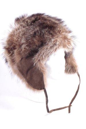 Cappello in pelliccia marrone-marrone chiaro Colore sfumato