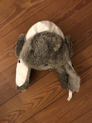 Sombrero de piel blanco-gris