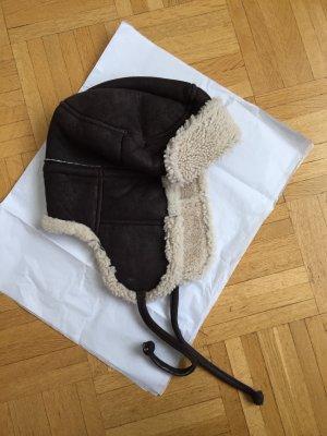 Sombrero de piel marrón-beige claro Piel