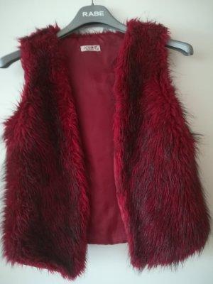 Fake Fur Vest black-red