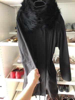 Zara Jas van imitatiebont zwart