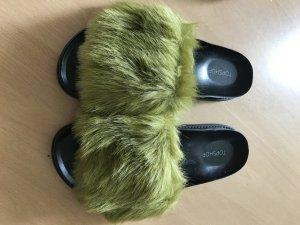 Fellsandalen Badelatschen Sandale Sandalen Fell Fake Für
