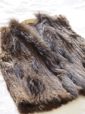 Smanicato di pelliccia marrone-marrone chiaro