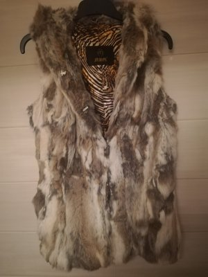 Fur vest grey brown-cream