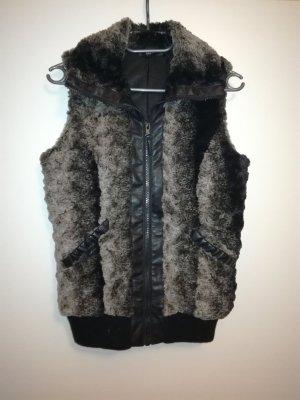 Kik Smanicato di pelliccia nero-grigio