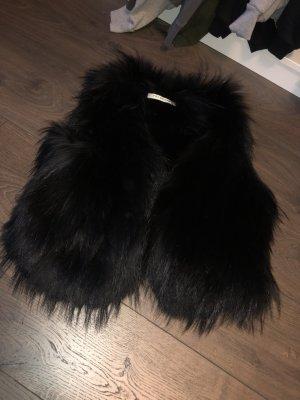 Yves salomon Smanicato di pelliccia nero
