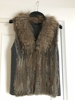 Marc Aurel Fur vest grey brown-grey
