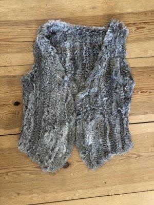 Veste en fourrure gris clair-gris