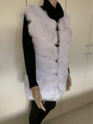 Fake Fur Vest white-light grey