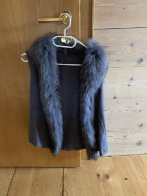 Vest van imitatiebont grijs-blauw
