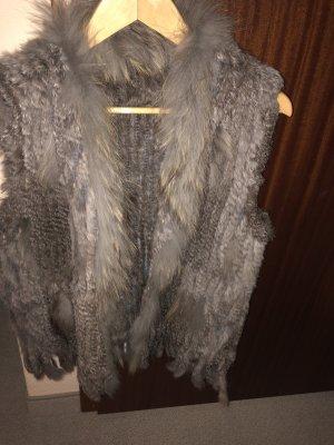 Gilet en fourrure gris-gris clair