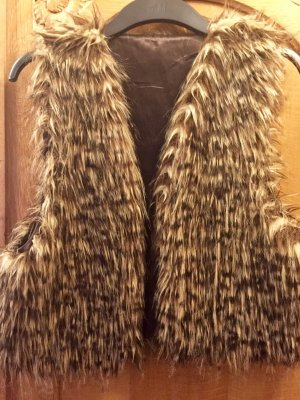 Fur vest light brown-black brown