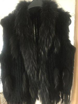 Smanicato di pelliccia nero-marrone-nero