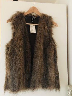 H&M Chaleco de piel marrón grisáceo