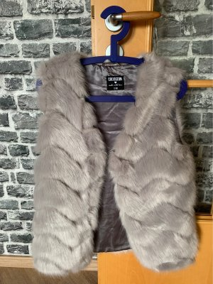 Fur vest light grey-grey