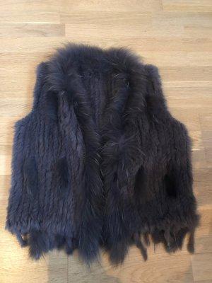 Smanicato di pelliccia grigio scuro-antracite