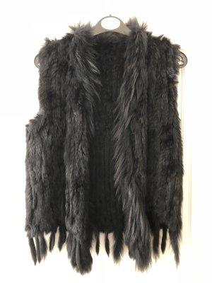 Smanicato di pelliccia nero-antracite Pelliccia