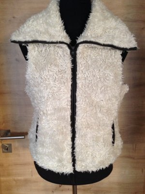 Fur vest black brown-white