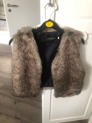 Fur vest bronze-colored