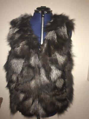 Smanicato di pelliccia nero-grigio Pelliccia