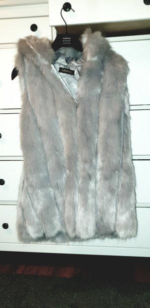 Fake Fur Vest light grey
