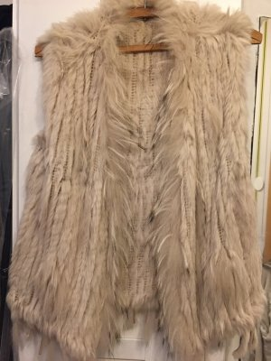 Fur vest natural white
