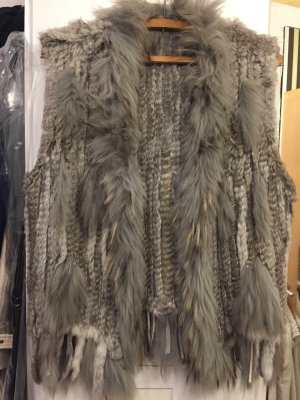 Fur vest light grey-natural white fur