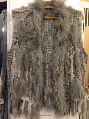 Smanicato di pelliccia grigio chiaro-bianco sporco Pelliccia