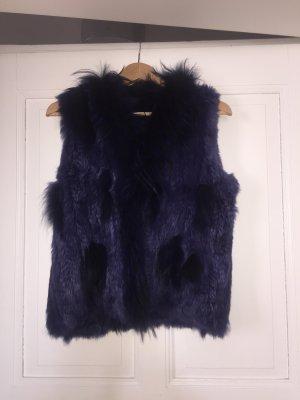 Chaleco de piel violeta azulado-azul
