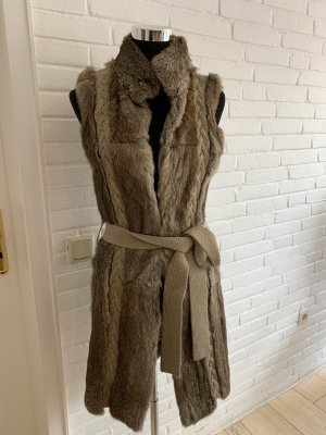 Set Fur vest light brown-beige