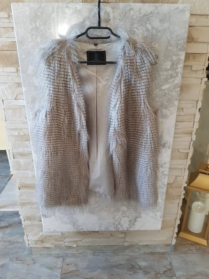 Rino & Pelle Smanicato di pelliccia marrone-grigio-bianco sporco