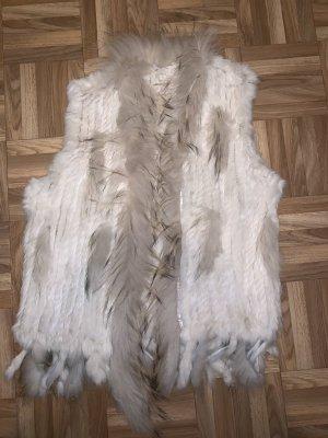 Chaleco de piel blanco puro-crema Piel