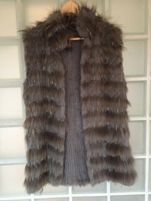 Smanicato di pelliccia marrone-grigio