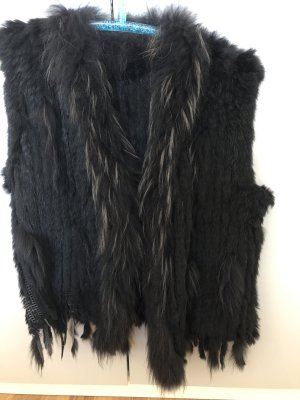 Smanicato di pelliccia nero Pelliccia