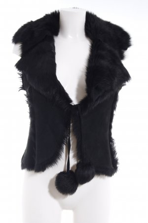 Smanicato di pelliccia nero stile casual