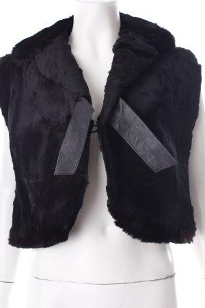 Bontgilet zwart Lederen elementen