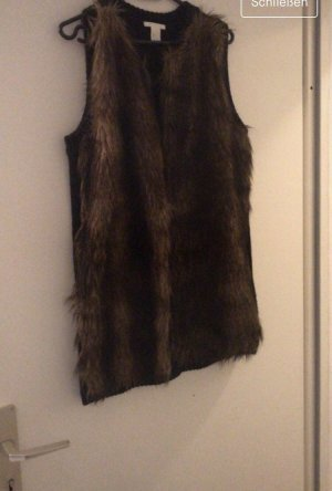 H&M Fur vest black-dark brown