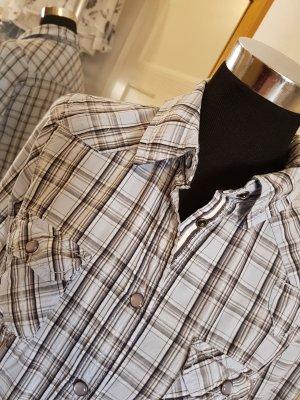 Feminine Karo-Bluse aus reiner Baumwolle,  Gr. 38