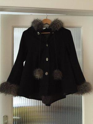 Feminine Woll-Jacke mit Kunstfell