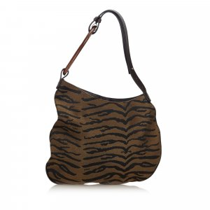 Fendi Animal Printed Canvas Oyster Shoulder Bag