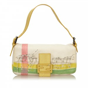 Fendi Embellished Canvas Baguette
