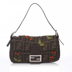 Fendi Embroidered Wool Baguette
