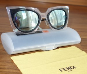 Fendi Glasses black-neon blue synthetic material