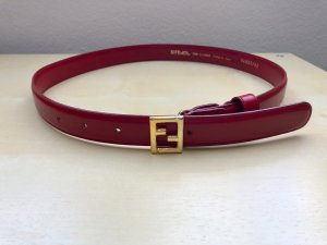 Fendi Leather Belt neon red-sand brown leather